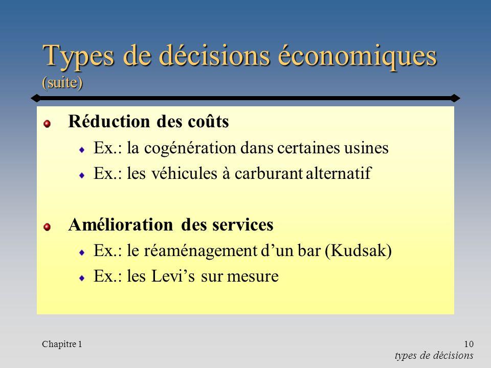 Chapitre 110 Types de décisions économiques (suite) Réduction des coûts Ex.: la cogénération dans certaines usines Ex.: les véhicules à carburant alternatif Amélioration des services Ex.: le réaménagement dun bar (Kudsak) Ex.: les Levis sur mesure types de décisions