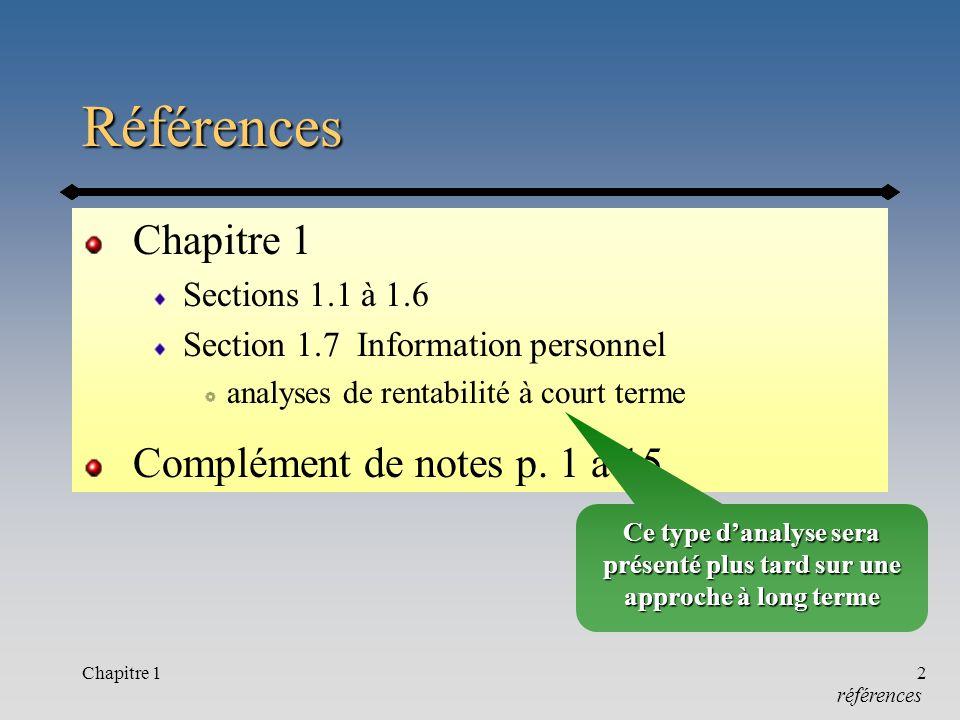 Chapitre 12 Références Sections 1.1 à 1.6 Section 1.7 Information personnel analyses de rentabilité à court terme Complément de notes p.