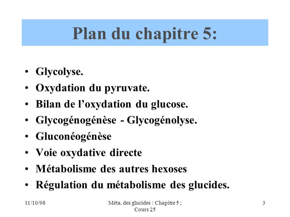 11/10/983Méta. des glucides : Chapitre 5 ; Cours 25 Plan du chapitre 5: Glycolyse. Oxydation du pyruvate. Bilan de loxydation du glucose. Glycogénogén