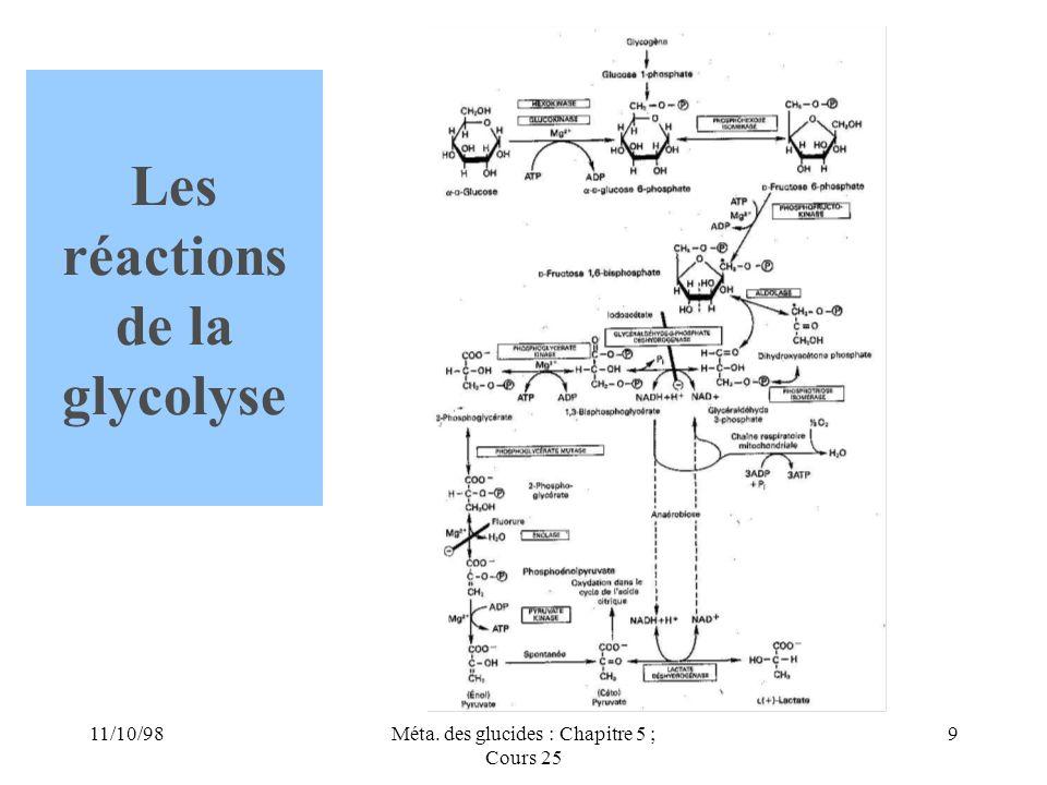 11/10/989Méta. des glucides : Chapitre 5 ; Cours 25 Les réactions de la glycolyse