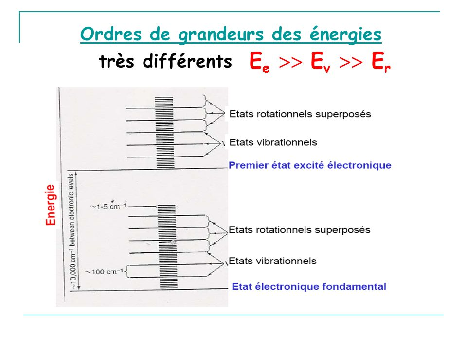 Ordres de grandeurs des énergies très différents E e E v E r
