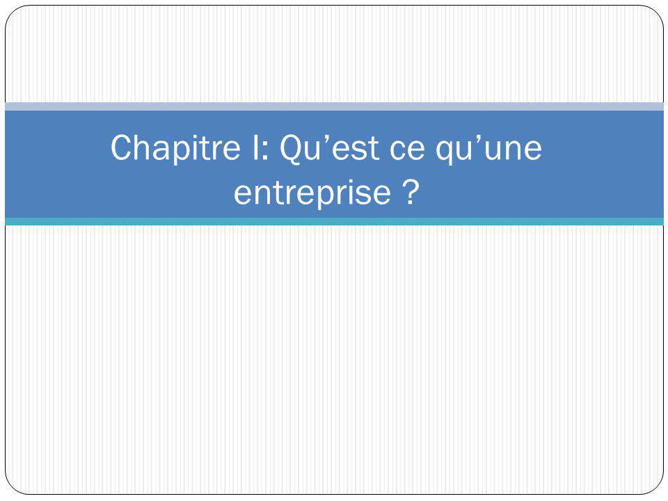 Chapitre I: Quest ce quune entreprise ?