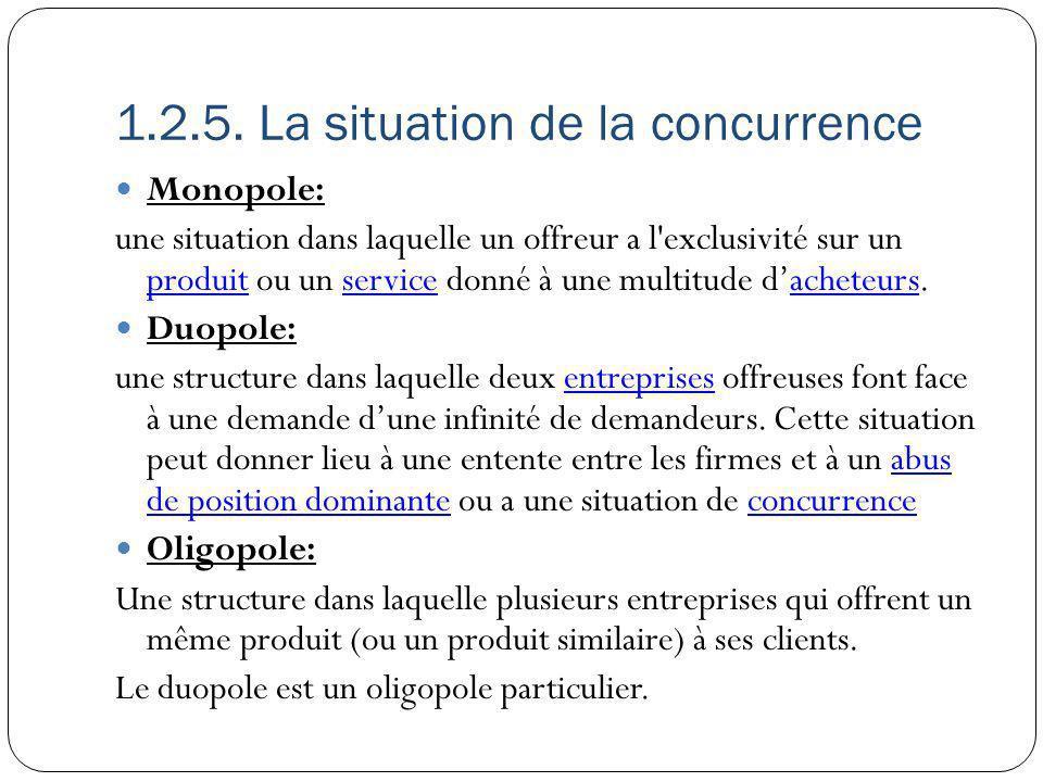 1.2.5. La situation de la concurrence Monopole: une situation dans laquelle un offreur a l'exclusivité sur un produit ou un service donné à une multit