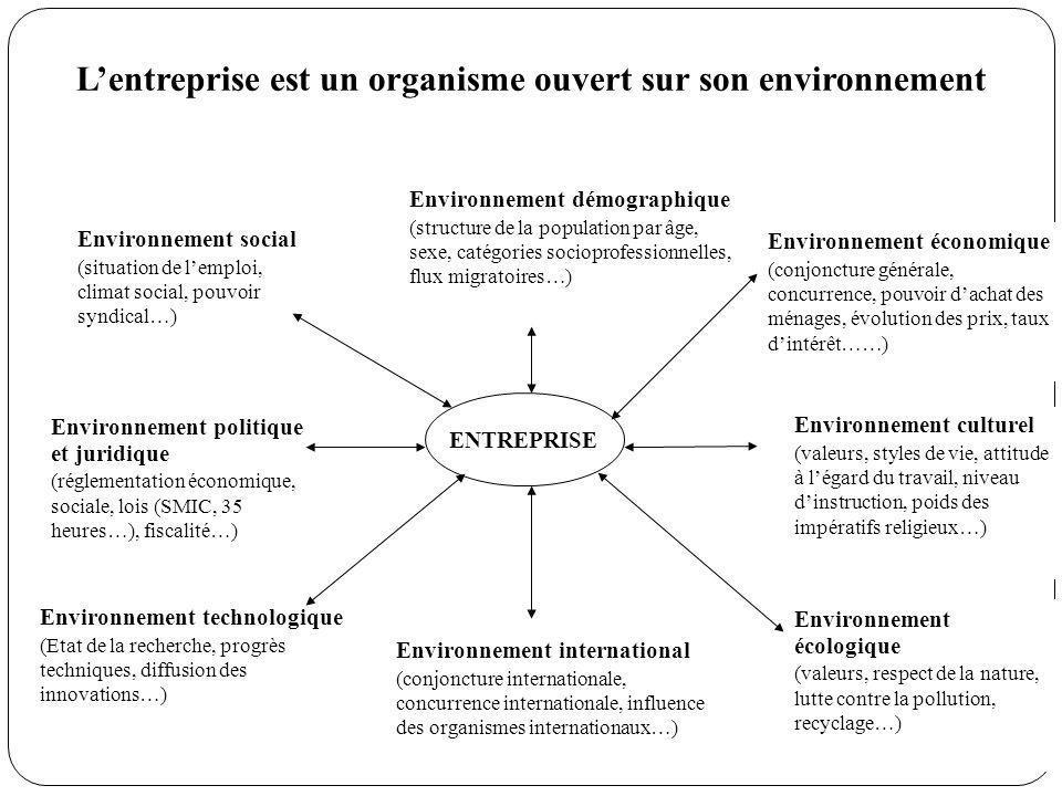 ENTREPRISE Environnement social (situation de lemploi, climat social, pouvoir syndical…) Environnement politique et juridique (réglementation économiq