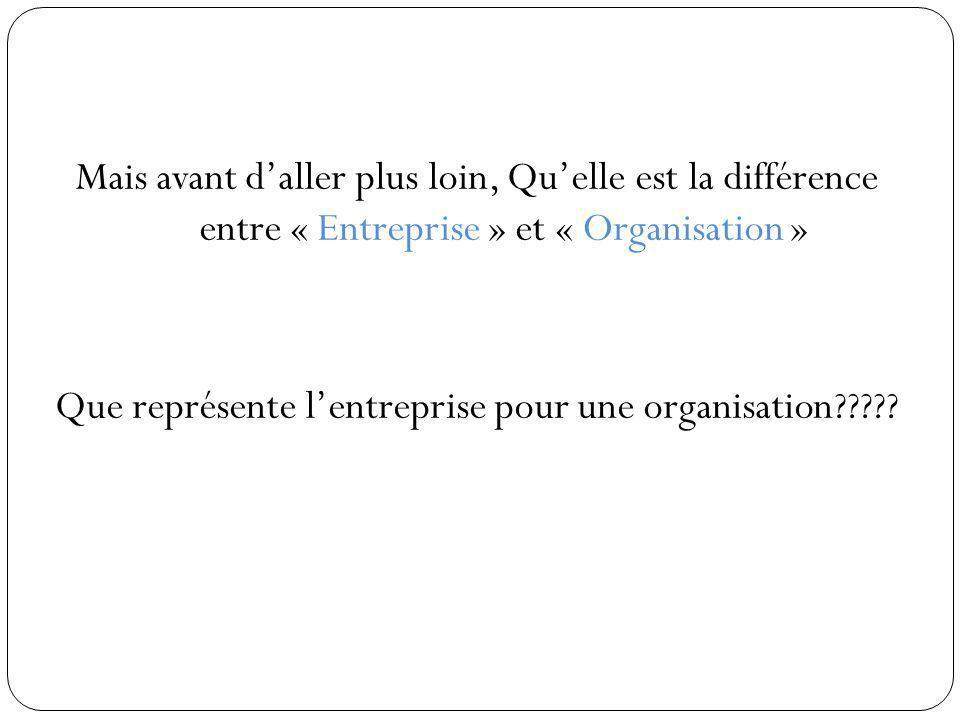 Mais avant daller plus loin, Quelle est la différence entre « Entreprise » et « Organisation » Que représente lentreprise pour une organisation?????