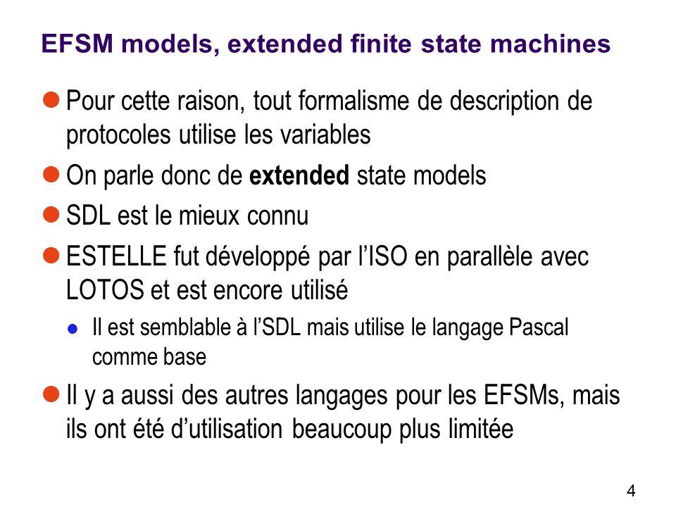 4 EFSM models, extended finite state machines Pour cette raison, tout formalisme de description de protocoles utilise les variables On parle donc de extended state models SDL est le mieux connu ESTELLE fut développé par lISO en parallèle avec LOTOS et est encore utilisé Il est semblable à lSDL mais utilise le langage Pascal comme base Il y a aussi des autres langages pour les EFSMs, mais ils ont été dutilisation beaucoup plus limitée