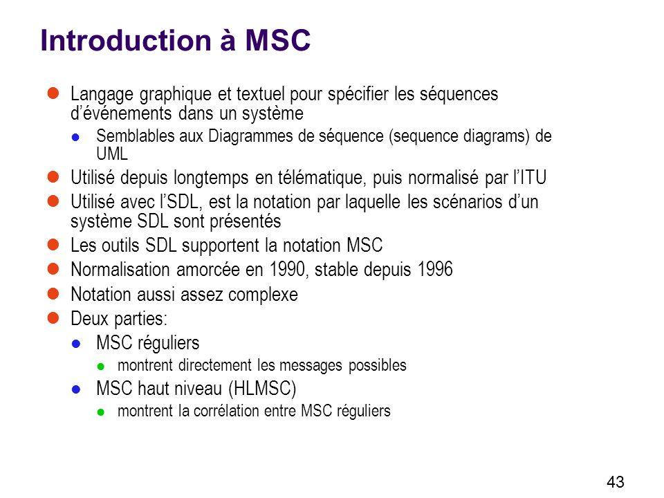 43 Introduction à MSC Langage graphique et textuel pour spécifier les séquences dévénements dans un système Semblables aux Diagrammes de séquence (sequence diagrams) de UML Utilisé depuis longtemps en télématique, puis normalisé par lITU Utilisé avec lSDL, est la notation par laquelle les scénarios dun système SDL sont présentés Les outils SDL supportent la notation MSC Normalisation amorcée en 1990, stable depuis 1996 Notation aussi assez complexe Deux parties: MSC réguliers montrent directement les messages possibles MSC haut niveau (HLMSC) montrent la corrélation entre MSC réguliers