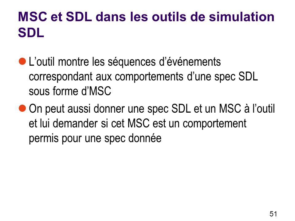 51 Loutil montre les séquences dévénements correspondant aux comportements dune spec SDL sous forme dMSC On peut aussi donner une spec SDL et un MSC à loutil et lui demander si cet MSC est un comportement permis pour une spec donnée MSC et SDL dans les outils de simulation SDL