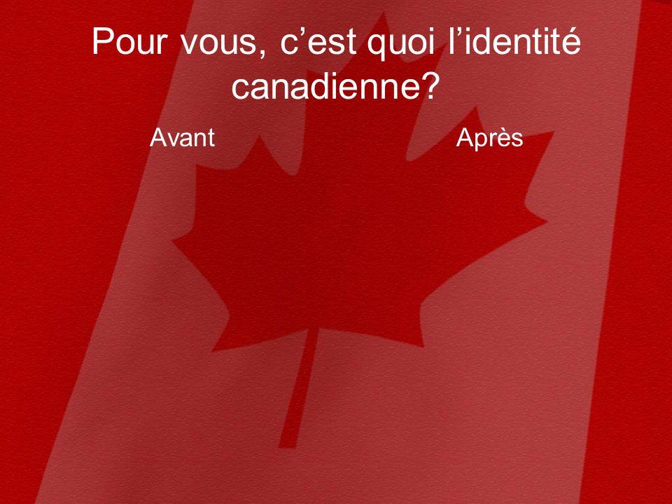 Pour vous, cest quoi lidentité canadienne AvantAprès