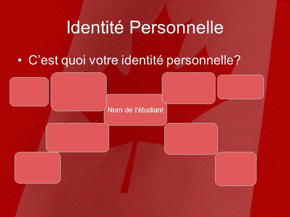 Identité Personnelle Cest quoi votre identité personnelle? Nom de létudiant