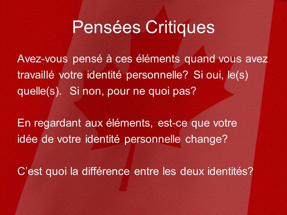 Identité canadienne Nommez une caractéristique que pour vous, signifie le plus ton identité canadienne selon les catégories.
