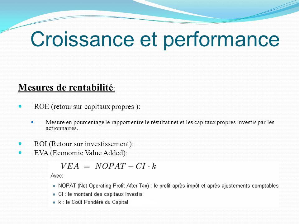 Croissance et performance Mesures de rentabilité : ROE (retour sur capitaux propres ): Mesure en pourcentage le rapport entre le résultat net et les c