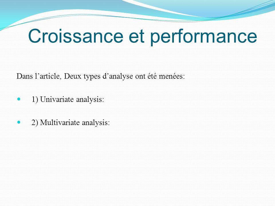 Croissance et performance Dans larticle, Deux types danalyse ont été menées: 1) Univariate analysis: 2) Multivariate analysis: