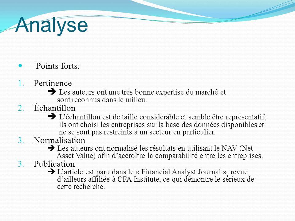 Analyse Points forts: 1. Pertinence Les auteurs ont une très bonne expertise du marché et sont reconnus dans le milieu. 2. Échantillon Léchantillon es