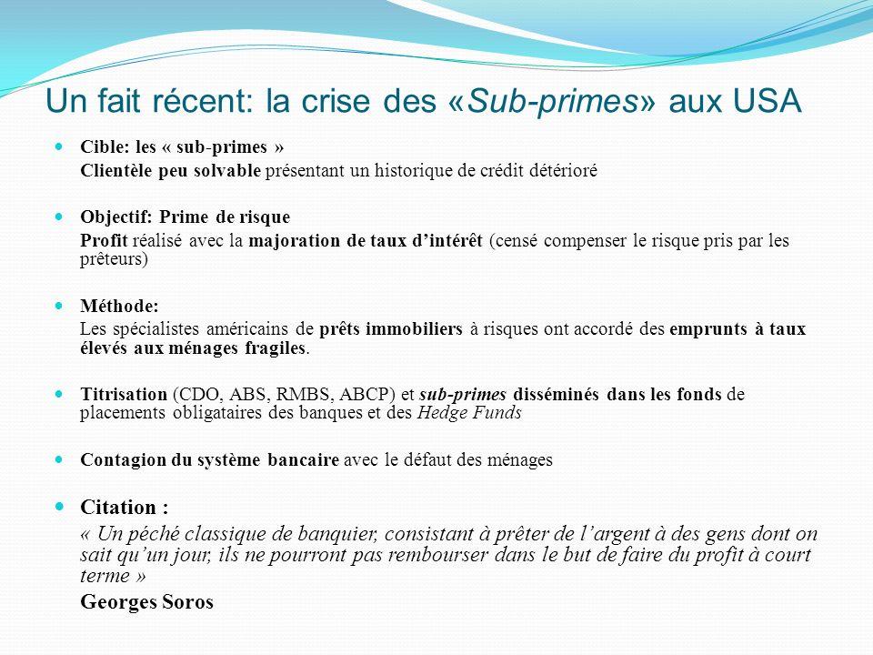 Un fait récent: la crise des «Sub-primes» aux USA Cible: les « sub-primes » Clientèle peu solvable présentant un historique de crédit détérioré Object