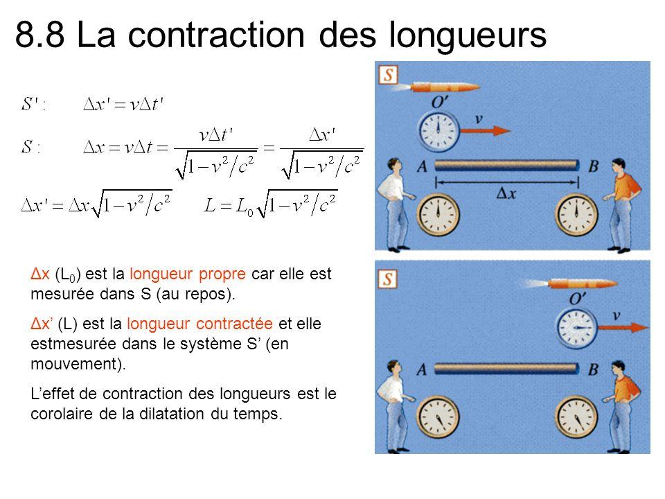 8.8 La contraction des longueurs Δx (L 0 ) est la longueur propre car elle est mesurée dans S (au repos).