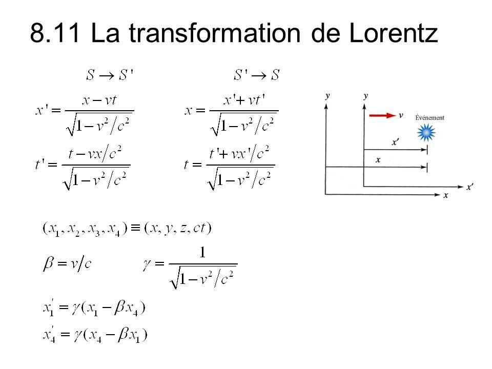 8.11 La transformation de Lorentz