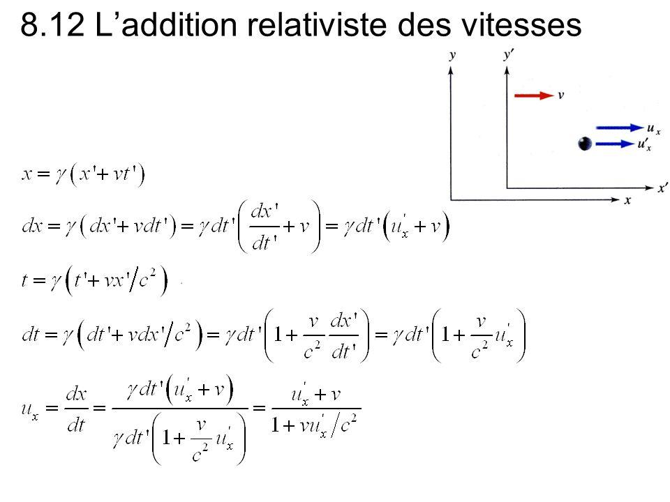 8.12 Laddition relativiste des vitesses