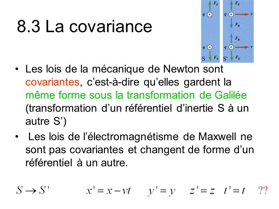 8.3 La covariance Les lois de la mécanique de Newton sont covariantes, cest-à-dire quelles gardent la même forme sous la transformation de Galilée (transformation dun référentiel dinertie S à un autre S) Les lois de lélectromagnétisme de Maxwell ne sont pas covariantes et changent de forme dun référentiel à un autre.