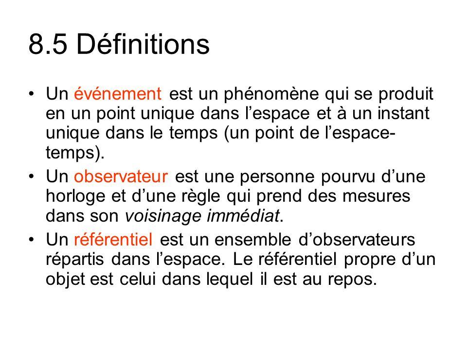 8.5 Définitions Un événement est un phénomène qui se produit en un point unique dans lespace et à un instant unique dans le temps (un point de lespace- temps).