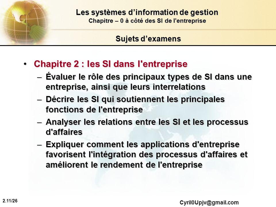 2.11/26 Les systèmes dinformation de gestion Chapitre – 0 à côté des SI de l'entreprise Cyril0Upjv@gmail.com Sujets dexamens Chapitre 2 : les SI dans