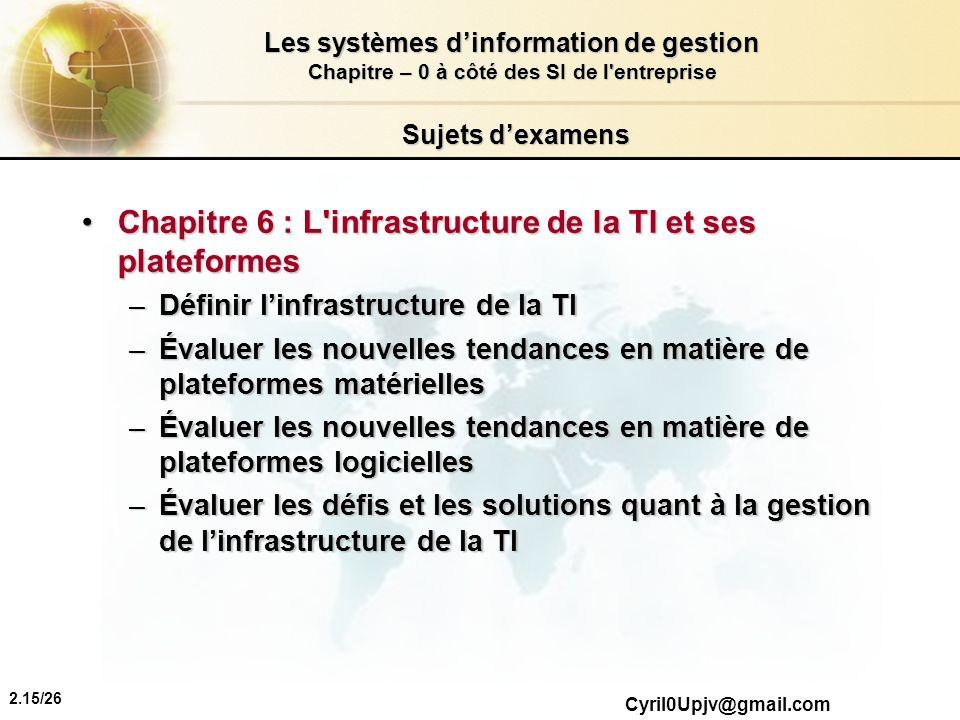 2.15/26 Les systèmes dinformation de gestion Chapitre – 0 à côté des SI de l'entreprise Cyril0Upjv@gmail.com Sujets dexamens Chapitre 6 : L'infrastruc