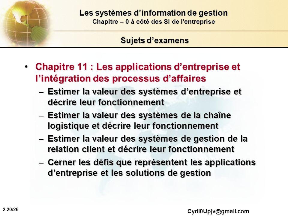 2.20/26 Les systèmes dinformation de gestion Chapitre – 0 à côté des SI de l'entreprise Cyril0Upjv@gmail.com Sujets dexamens Chapitre 11 : Les applica