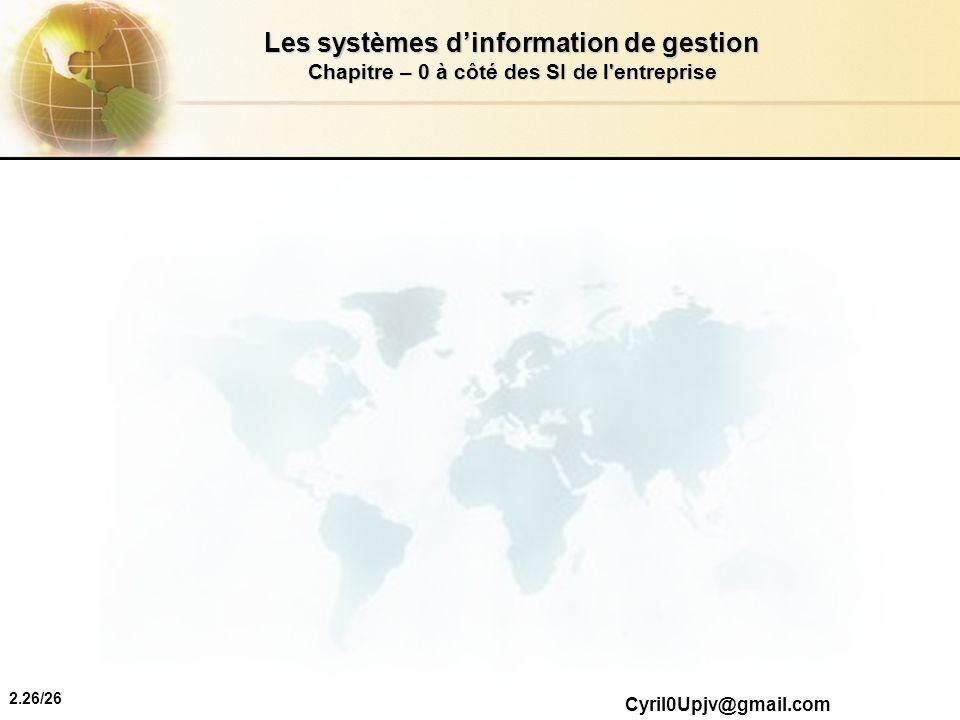 2.26/26 Les systèmes dinformation de gestion Chapitre – 0 à côté des SI de l'entreprise Cyril0Upjv@gmail.com