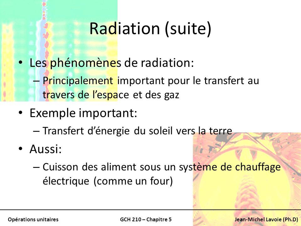 Opérations unitairesGCH 210 – Chapitre 5Jean-Michel Lavoie (Ph.D) Radiation (suite) Les phénomènes de radiation: – Principalement important pour le tr