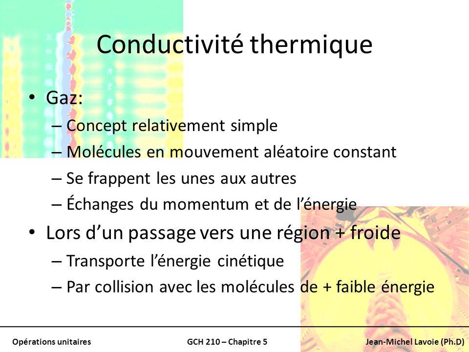 Opérations unitairesGCH 210 – Chapitre 5Jean-Michel Lavoie (Ph.D) Conductivité thermique Gaz: – Concept relativement simple – Molécules en mouvement a