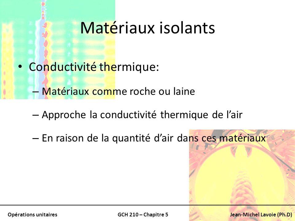 Opérations unitairesGCH 210 – Chapitre 5Jean-Michel Lavoie (Ph.D) Matériaux isolants Conductivité thermique: – Matériaux comme roche ou laine – Approc