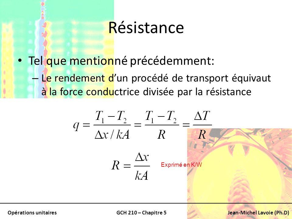 Opérations unitairesGCH 210 – Chapitre 5Jean-Michel Lavoie (Ph.D) Résistance Tel que mentionné précédemment: – Le rendement dun procédé de transport é