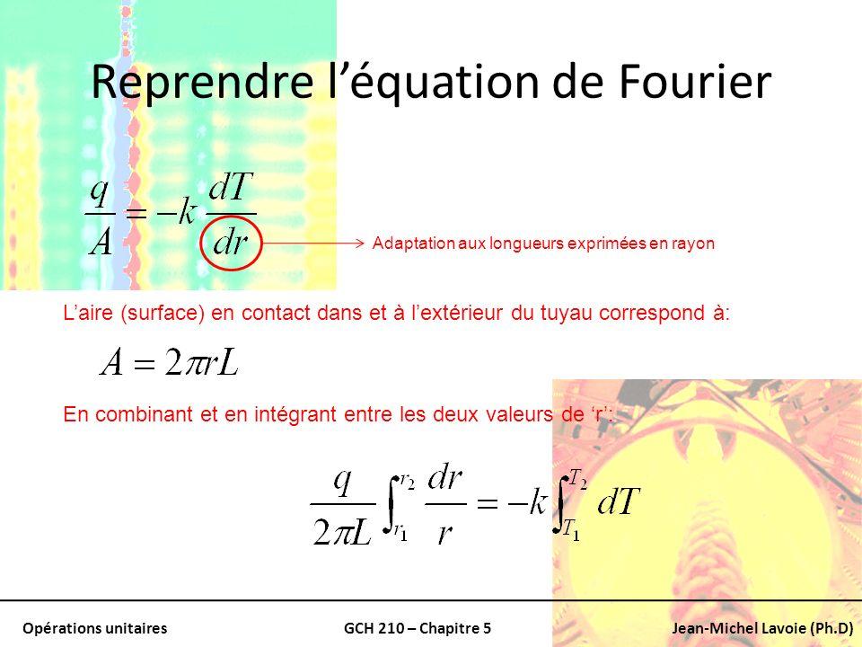 Opérations unitairesGCH 210 – Chapitre 5Jean-Michel Lavoie (Ph.D) Reprendre léquation de Fourier Adaptation aux longueurs exprimées en rayon Laire (su