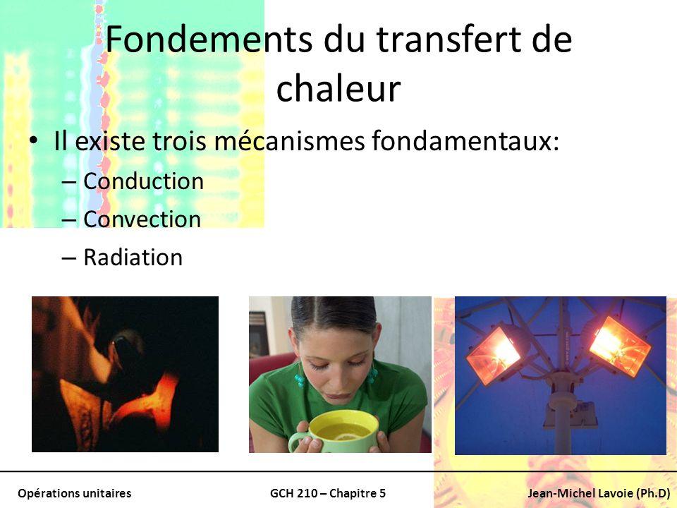 Opérations unitairesGCH 210 – Chapitre 5Jean-Michel Lavoie (Ph.D) Conduction Conduction: – La chaleur peut être conduite au travers: Solides, liquides, gaz – Comment: Transfert de lénergie de mouvement entre les molécules