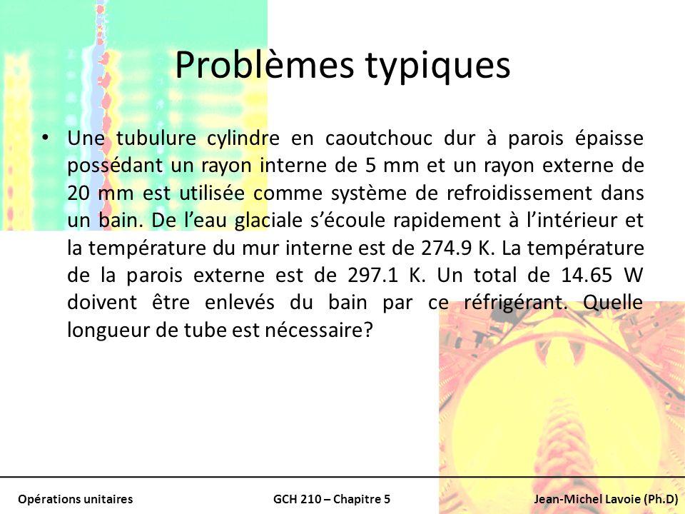 Opérations unitairesGCH 210 – Chapitre 5Jean-Michel Lavoie (Ph.D) Problèmes typiques Une tubulure cylindre en caoutchouc dur à parois épaisse possédan