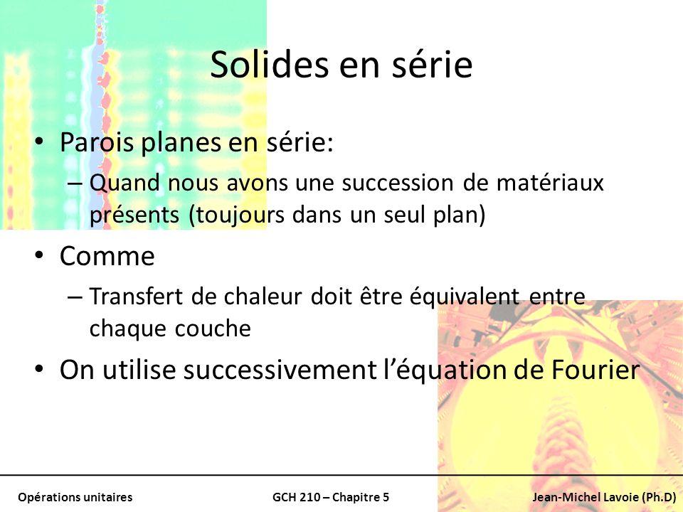 Opérations unitairesGCH 210 – Chapitre 5Jean-Michel Lavoie (Ph.D) Solides en série Parois planes en série: – Quand nous avons une succession de matéri