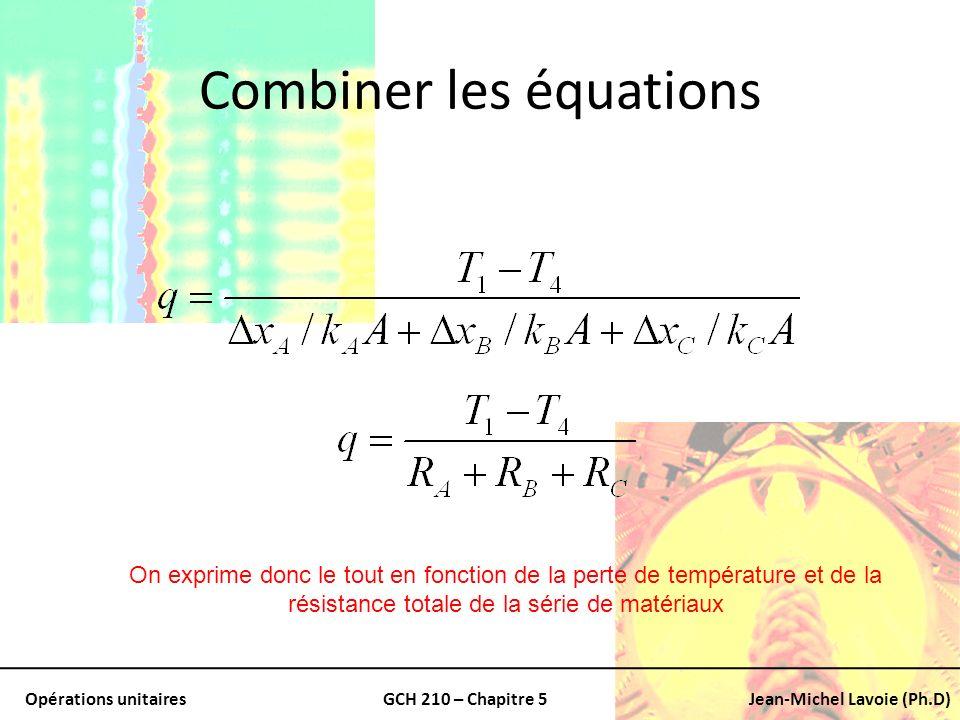 Opérations unitairesGCH 210 – Chapitre 5Jean-Michel Lavoie (Ph.D) Combiner les équations On exprime donc le tout en fonction de la perte de températur
