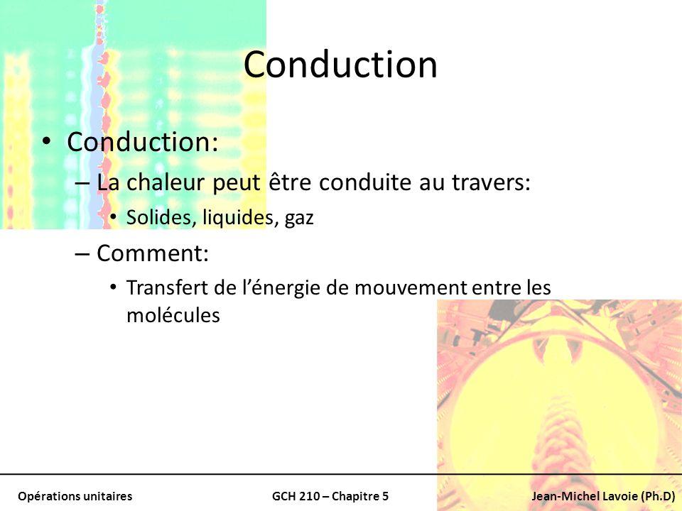 Opérations unitairesGCH 210 – Chapitre 5Jean-Michel Lavoie (Ph.D) Conduction (suite) Dans les gaz: – Molécules les plus chaudes Celles qui on plus dénergie et de mouvement – Communiquent de lénergie Molécules adjacentes à des niveaux dE plus bas Type déchange: – Existant dans les solides, liquides ou gaz Où il existe un gradient de température
