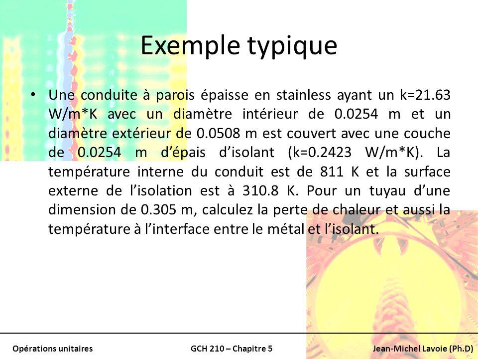 Opérations unitairesGCH 210 – Chapitre 5Jean-Michel Lavoie (Ph.D) Exemple typique Une conduite à parois épaisse en stainless ayant un k=21.63 W/m*K av