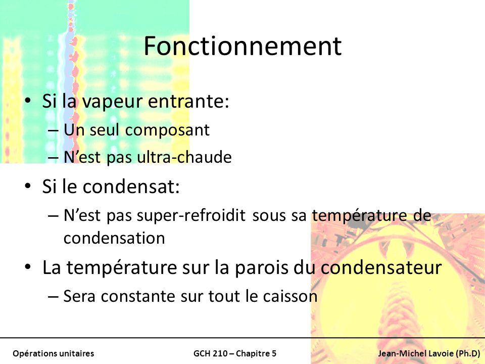 Opérations unitairesGCH 210 – Chapitre 5Jean-Michel Lavoie (Ph.D) Fonctionnement Si la vapeur entrante: – Un seul composant – Nest pas ultra-chaude Si