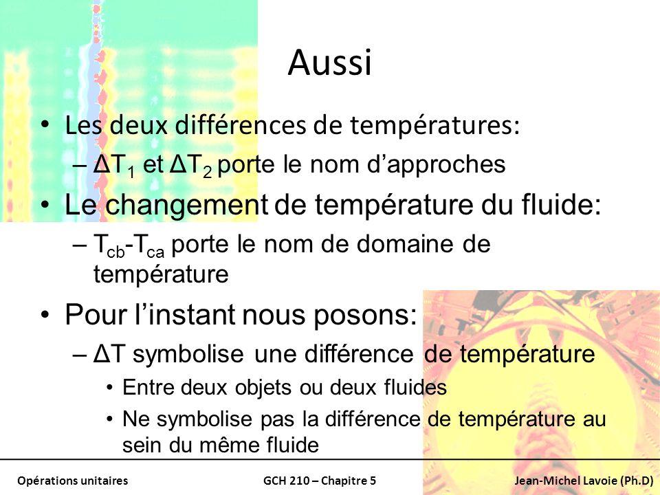 Opérations unitairesGCH 210 – Chapitre 5Jean-Michel Lavoie (Ph.D) Aussi Les deux différences de températures: –ΔT 1 et ΔT 2 porte le nom dapproches Le