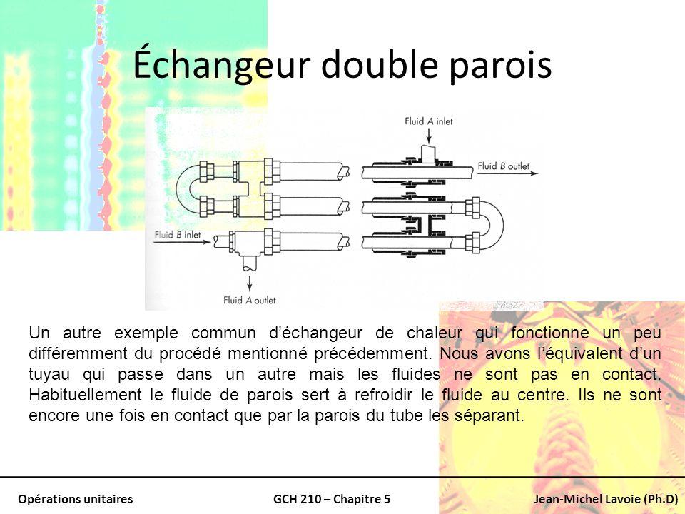 Opérations unitairesGCH 210 – Chapitre 5Jean-Michel Lavoie (Ph.D) Échangeur double parois Un autre exemple commun déchangeur de chaleur qui fonctionne