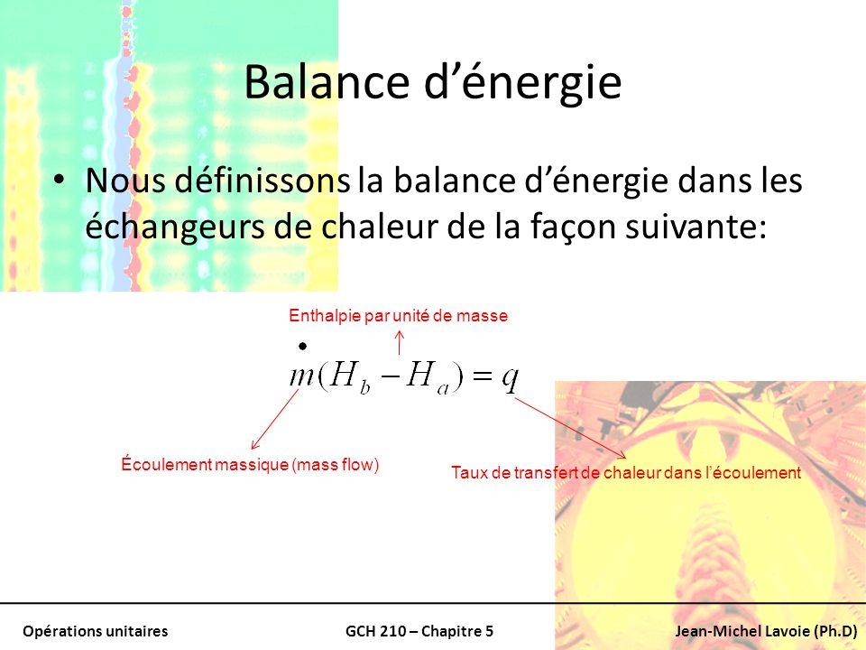Opérations unitairesGCH 210 – Chapitre 5Jean-Michel Lavoie (Ph.D) Balance dénergie Nous définissons la balance dénergie dans les échangeurs de chaleur