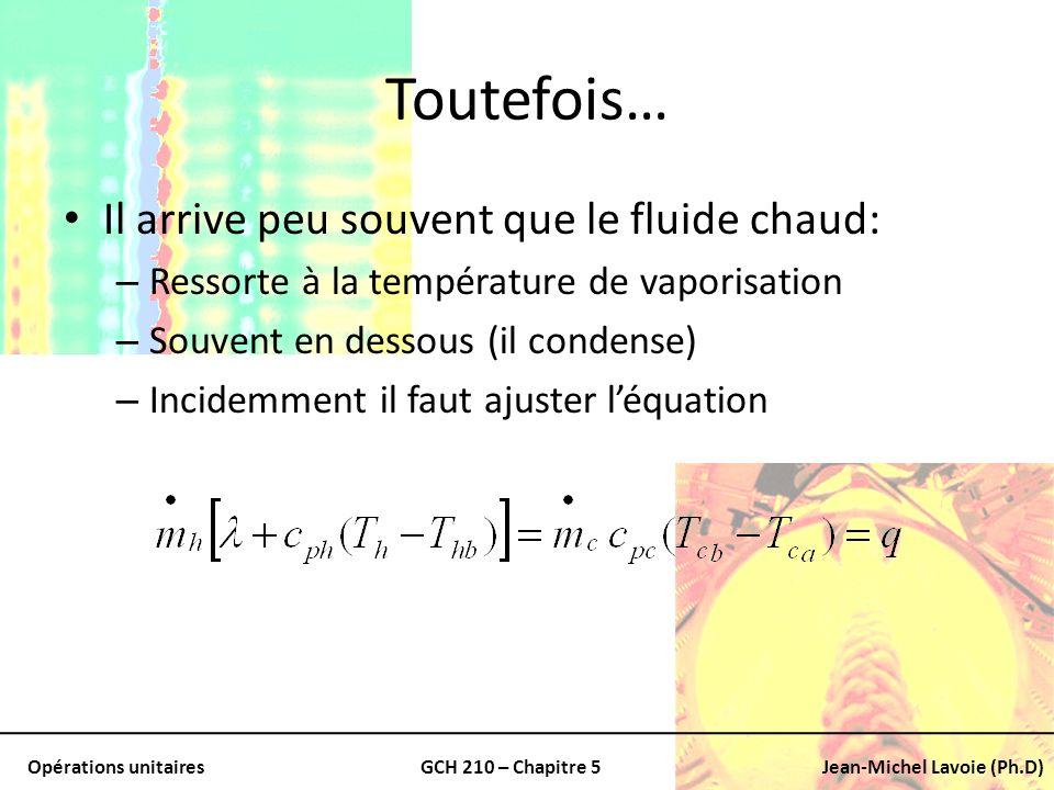 Opérations unitairesGCH 210 – Chapitre 5Jean-Michel Lavoie (Ph.D) Toutefois… Il arrive peu souvent que le fluide chaud: – Ressorte à la température de