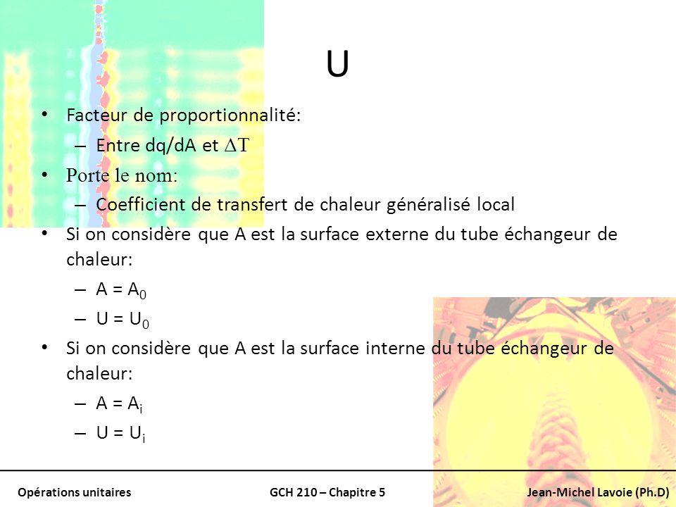 Opérations unitairesGCH 210 – Chapitre 5Jean-Michel Lavoie (Ph.D) U Facteur de proportionnalité: – Entre dq/dA et ΔT Porte le nom: – Coefficient de tr