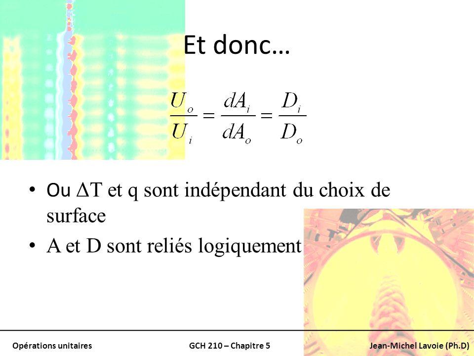 Opérations unitairesGCH 210 – Chapitre 5Jean-Michel Lavoie (Ph.D) Et donc… Ou ΔT et q sont indépendant du choix de surface A et D sont reliés logiquem
