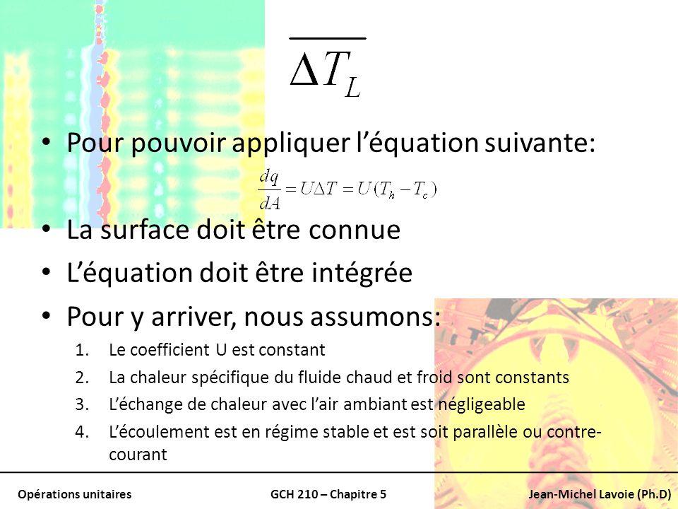 Opérations unitairesGCH 210 – Chapitre 5Jean-Michel Lavoie (Ph.D) Pour pouvoir appliquer léquation suivante: La surface doit être connue Léquation doi