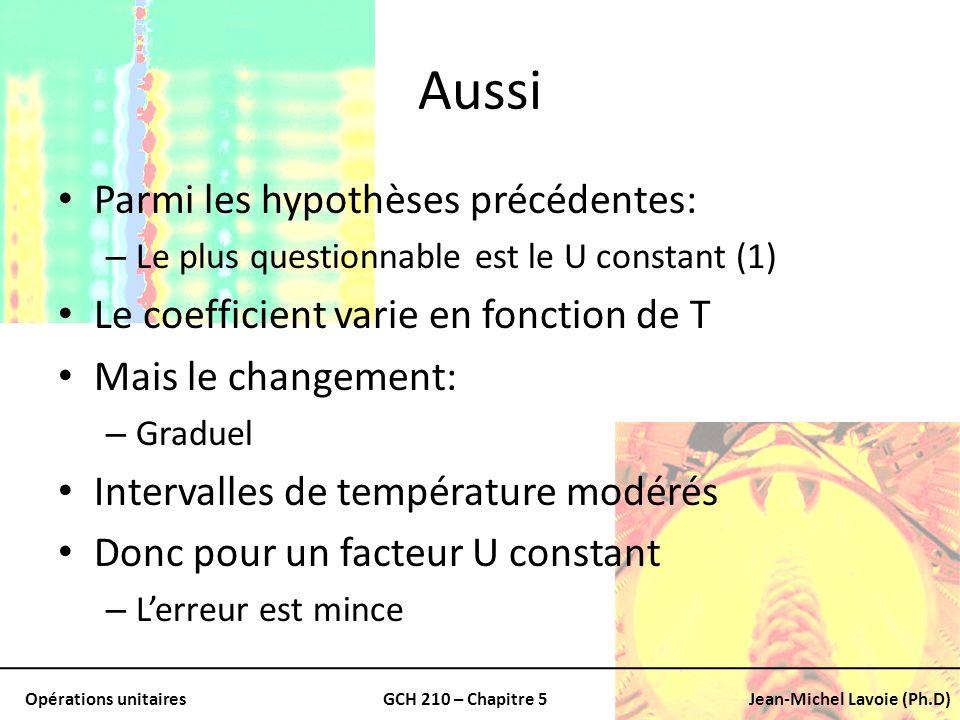 Opérations unitairesGCH 210 – Chapitre 5Jean-Michel Lavoie (Ph.D) Aussi Parmi les hypothèses précédentes: – Le plus questionnable est le U constant (1