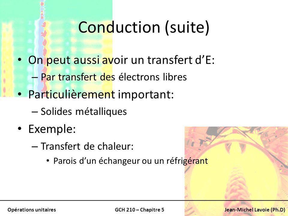 Opérations unitairesGCH 210 – Chapitre 5Jean-Michel Lavoie (Ph.D) Reprendre léquation de Fourier Adaptation aux longueurs exprimées en rayon Laire (surface) en contact dans et à lextérieur du tuyau correspond à: En combinant et en intégrant entre les deux valeurs de r: