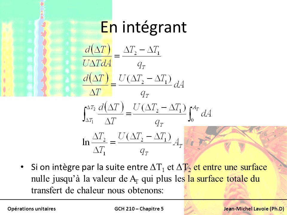 Opérations unitairesGCH 210 – Chapitre 5Jean-Michel Lavoie (Ph.D) En intégrant Si on intègre par la suite entre ΔT 1 et ΔT 2 et entre une surface null